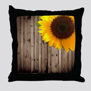 rustic barn yellow sunflower Throw Pillow